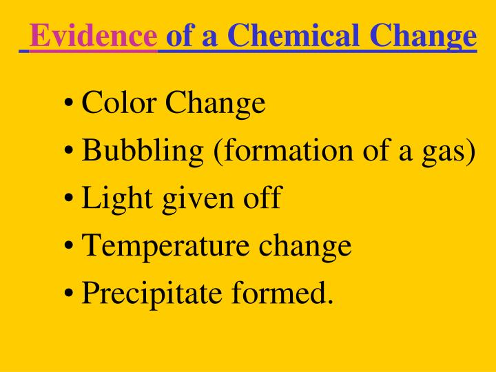 evidence of chemical change essay