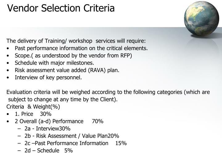 Vendor Selection Criteria