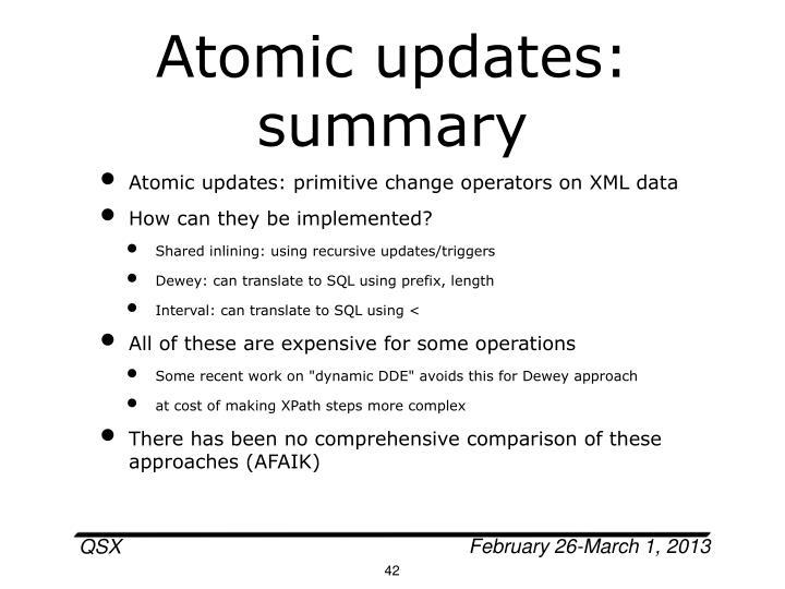 Atomic updates: summary