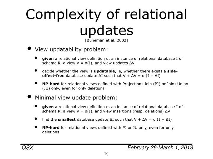 Complexity of relational updates
