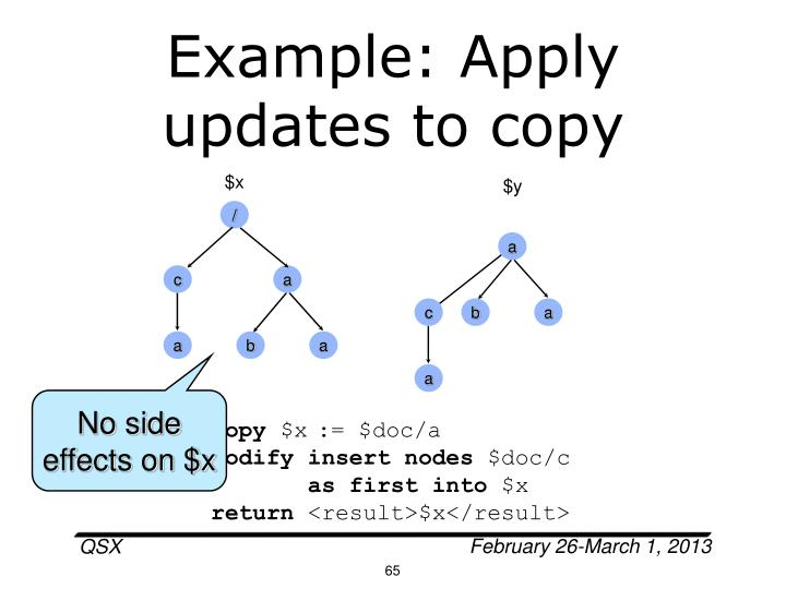 Example: Apply updates to copy