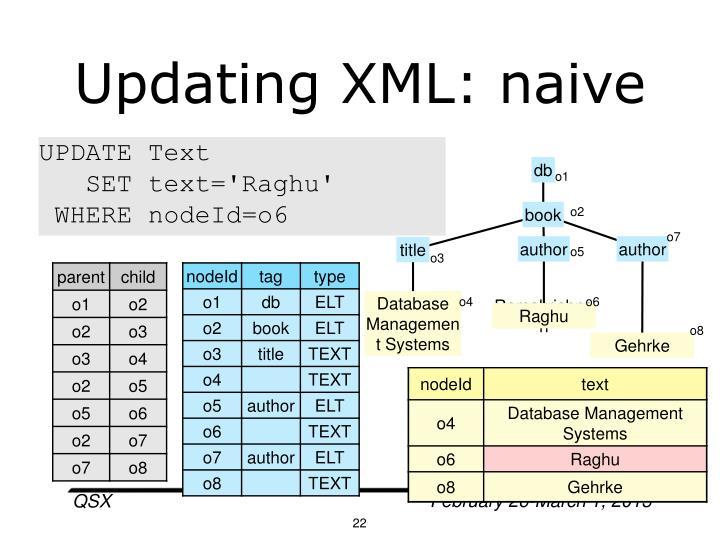 Updating XML: naive
