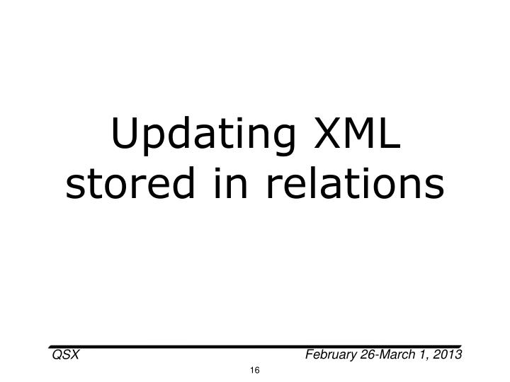 Updating XML stored in relations