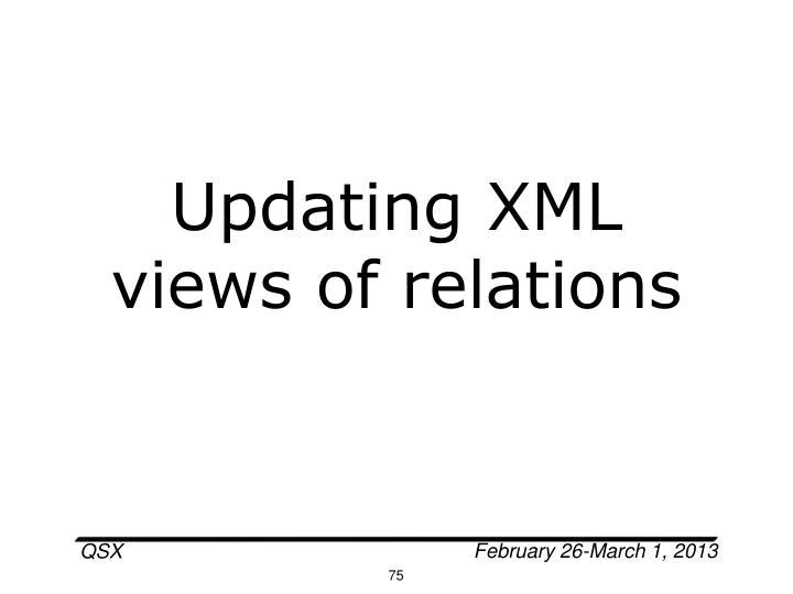 Updating XML views of relations