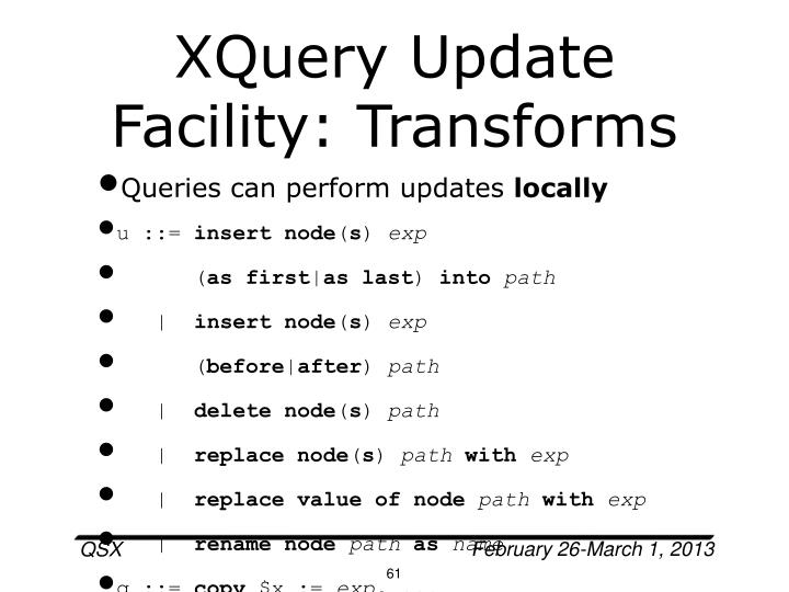 XQuery Update Facility: Transforms