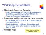 workshop deliverables