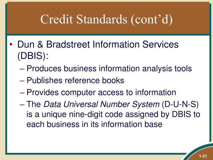 Credit Standards (cont'd)