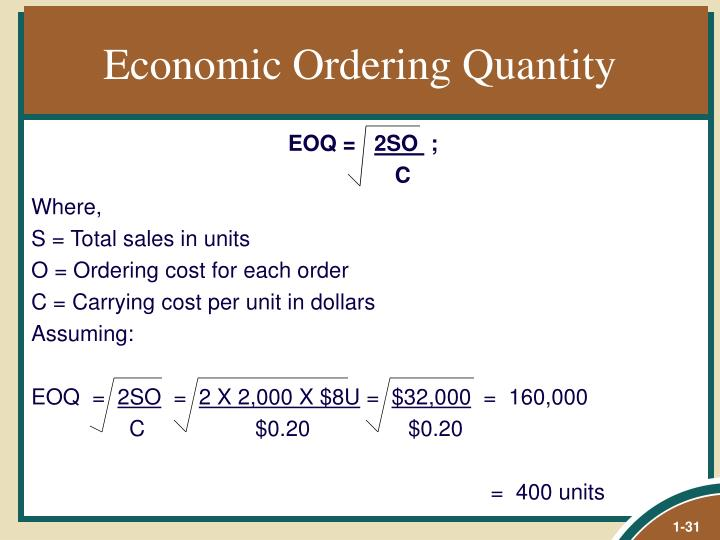 Economic Ordering Quantity