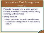 international cash management cont d