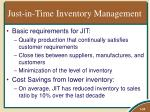 just in time inventory management