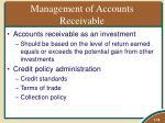 management of accounts receivable