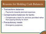 reasons for holding cash balances
