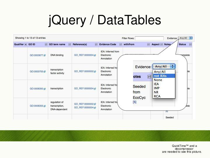 jQuery / DataTables