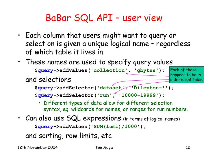 BaBar SQL API – user view