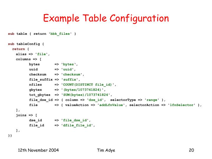 Example Table Configuration