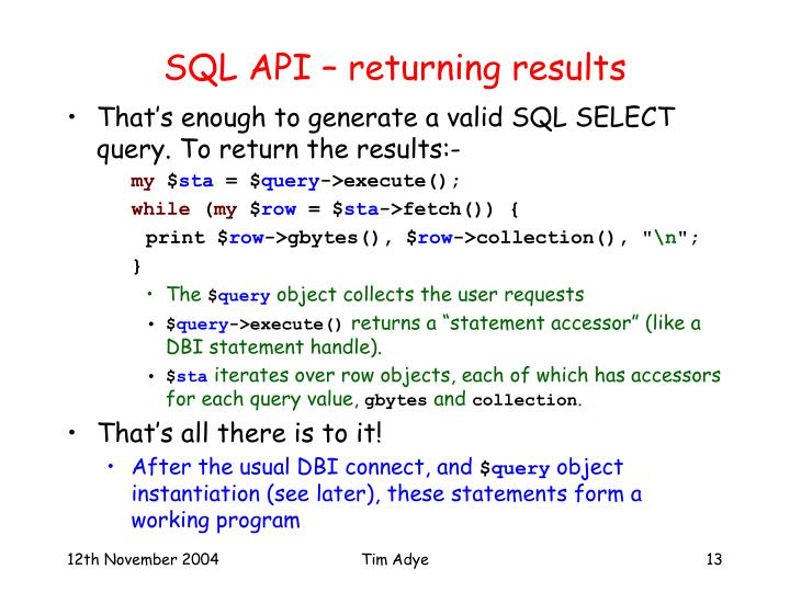 SQL API – returning results