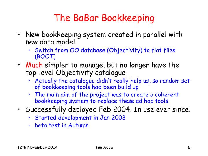 The BaBar Bookkeeping