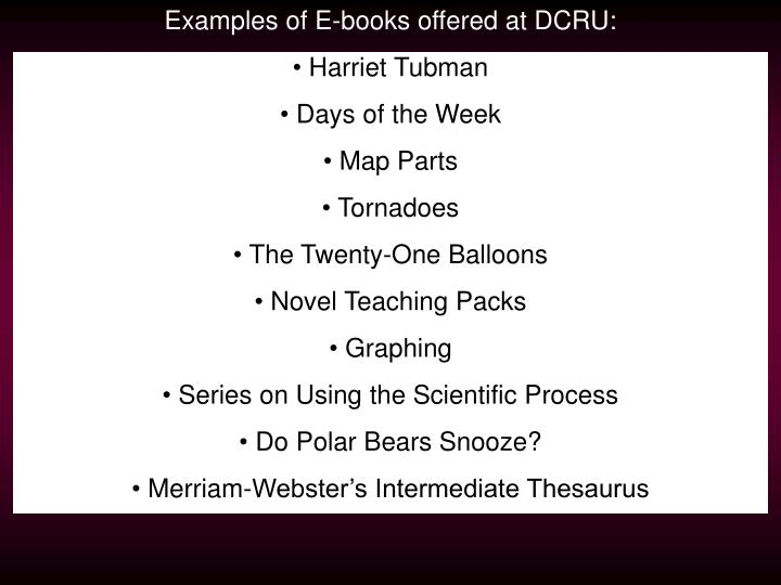 Examples of E-books offered at DCRU: