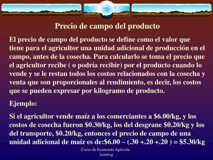 Precio de campo del producto