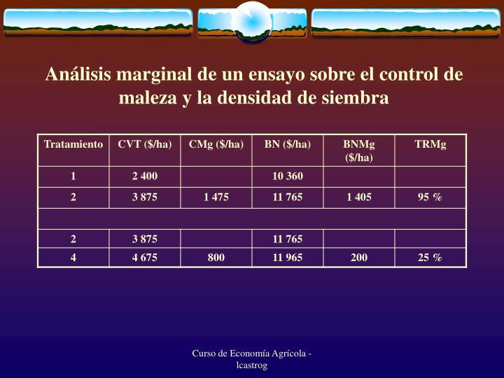 Análisis marginal de un ensayo sobre el control de maleza y la densidad de siembra