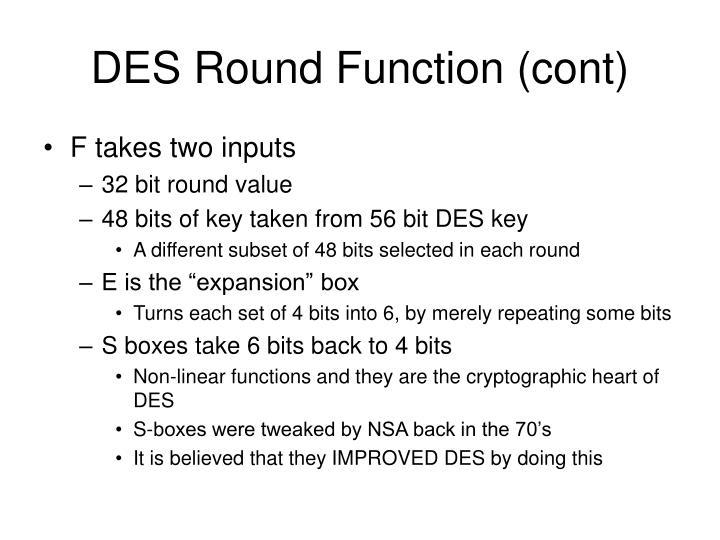 DES Round Function (cont)