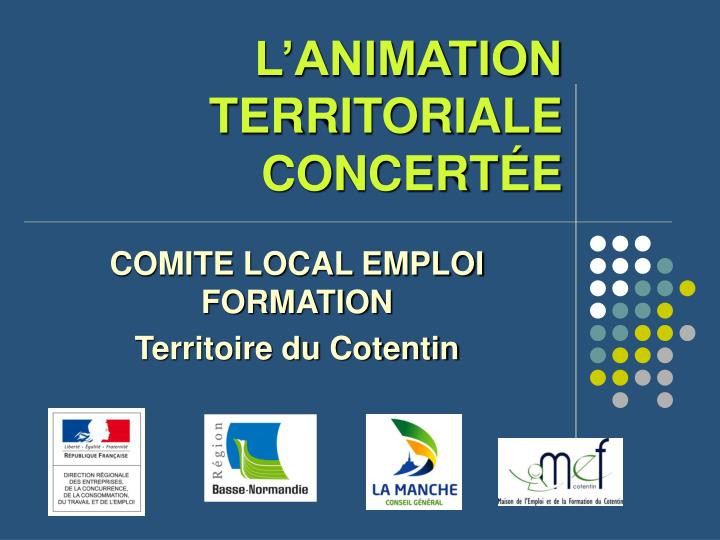 L'ANIMATION TERRITORIALE CONCERT