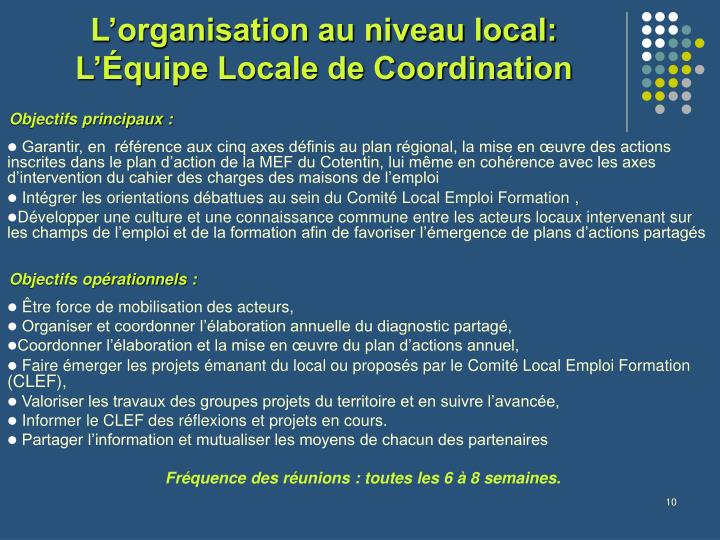L'organisation au niveau local: