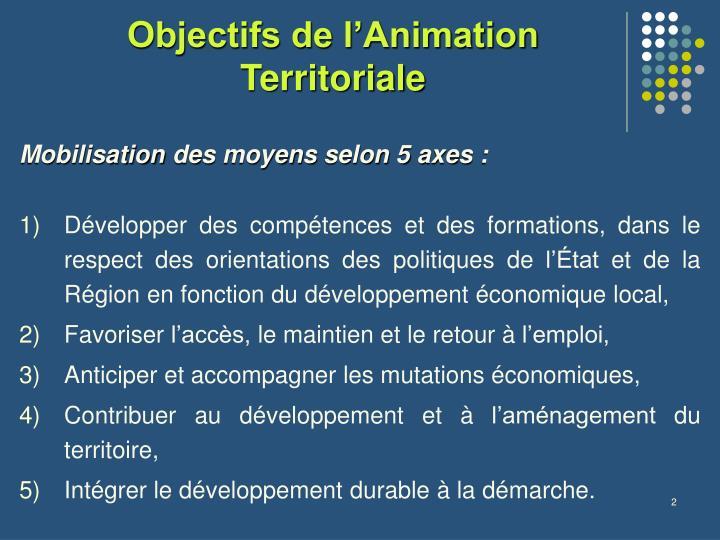 Objectifs de l'Animation Territoriale