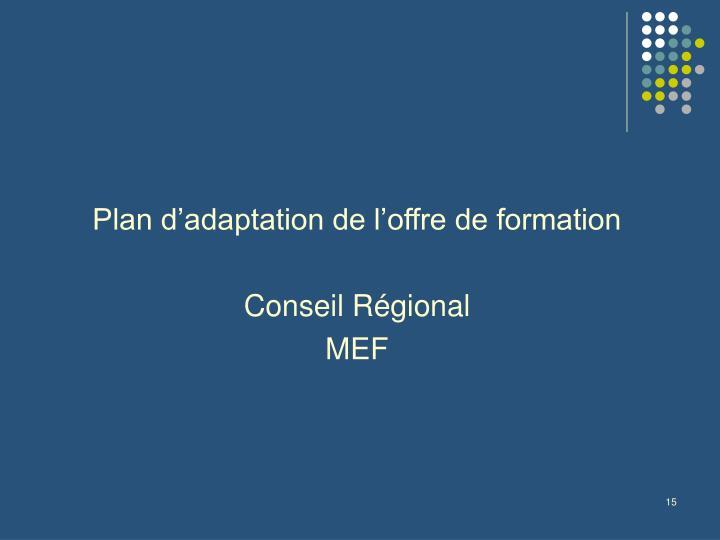 Plan d'adaptation de l'offre de formation