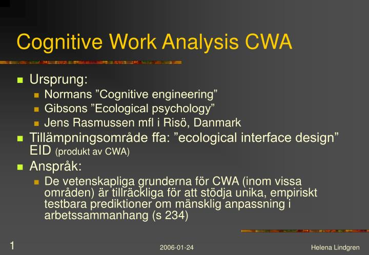 Cognitive work analysis cwa