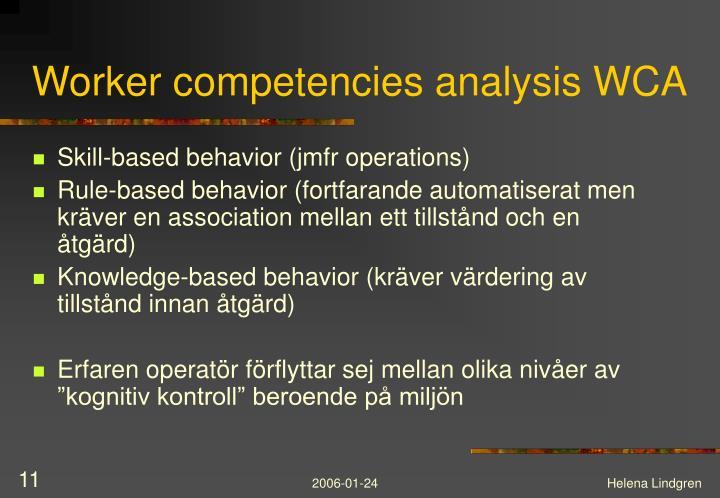 Worker competencies analysis WCA