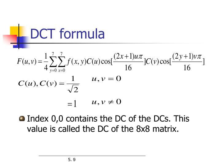DCT formula