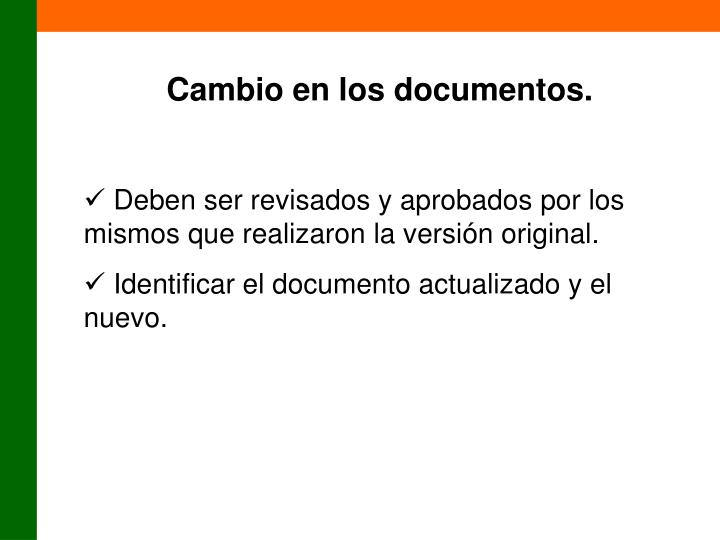 Cambio en los documentos.