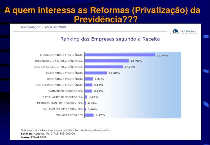 A quem interessa as Reformas (Privatização) da Previdência???