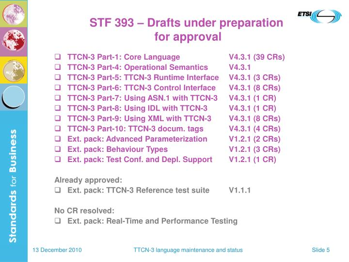 STF 393 – Drafts under preparation