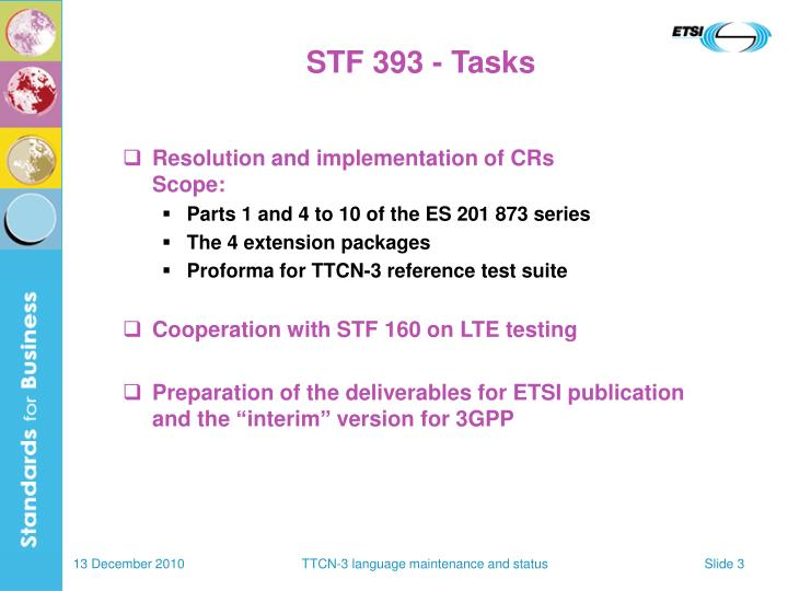 STF 393 - Tasks