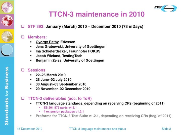 TTCN-3 maintenance in 2010