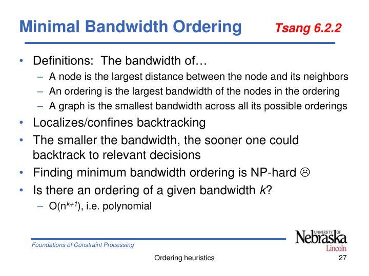 Minimal Bandwidth Ordering