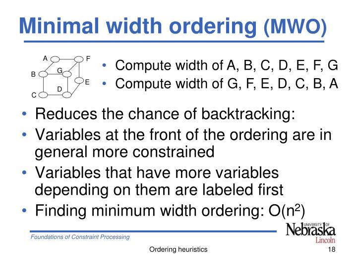 Minimal width ordering
