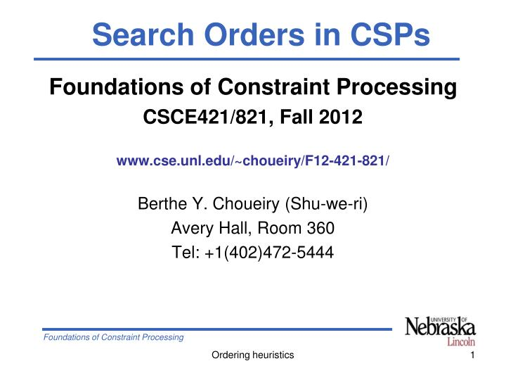 Search Orders in CSPs