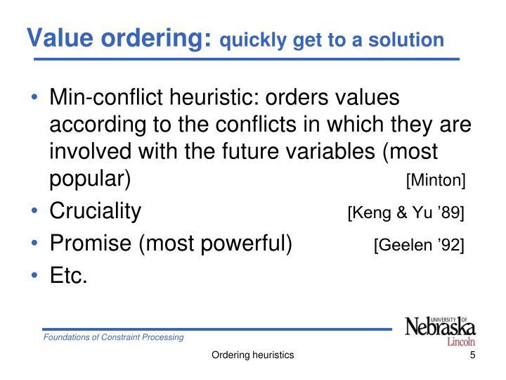 Value ordering: