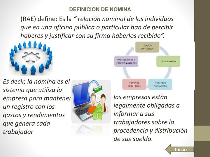 DEFINICION DE NOMINA