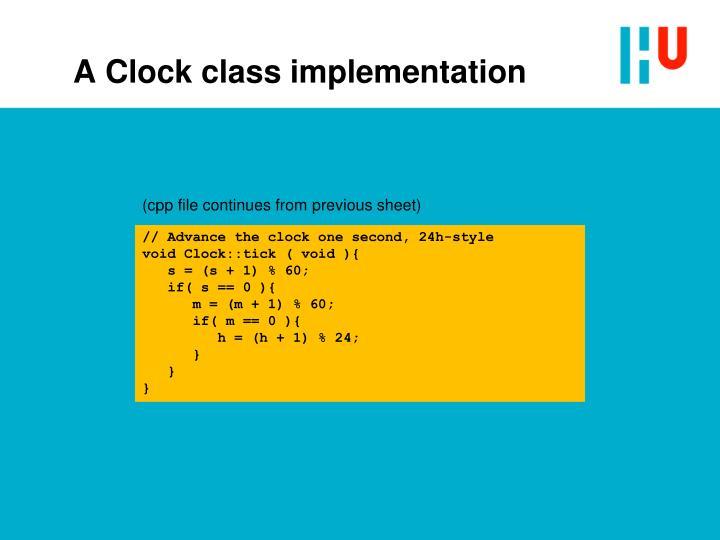 A Clock class implementation