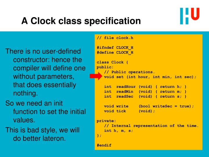 A Clock class specification