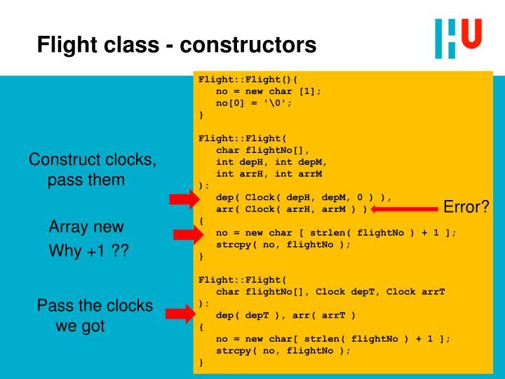 Flight class - constructors