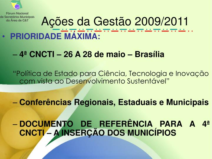 Ações da Gestão 2009/2011