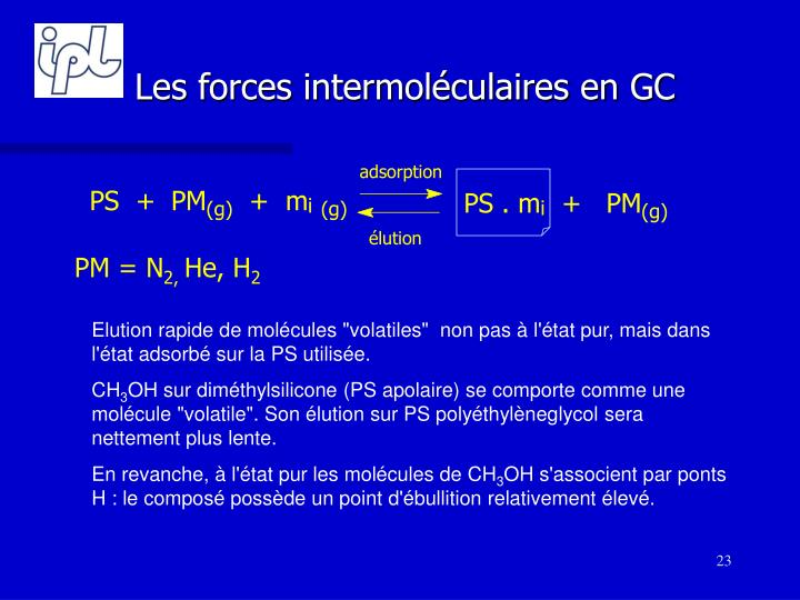 Les forces intermoléculaires en GC