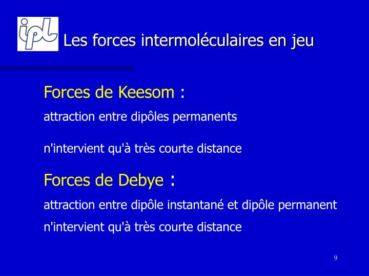 Les forces intermoléculaires en jeu