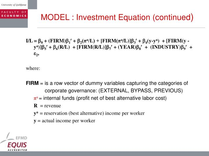 MODEL : Investment Equation (continued