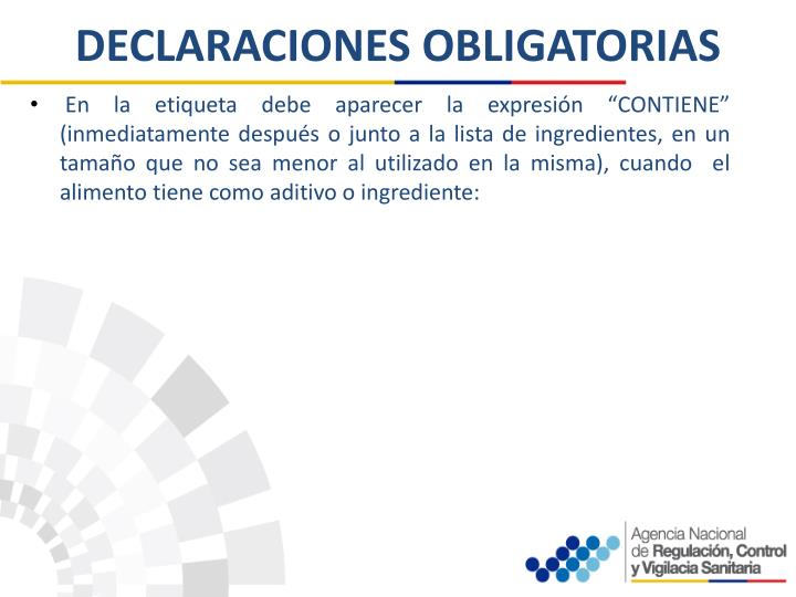 DECLARACIONES OBLIGATORIAS